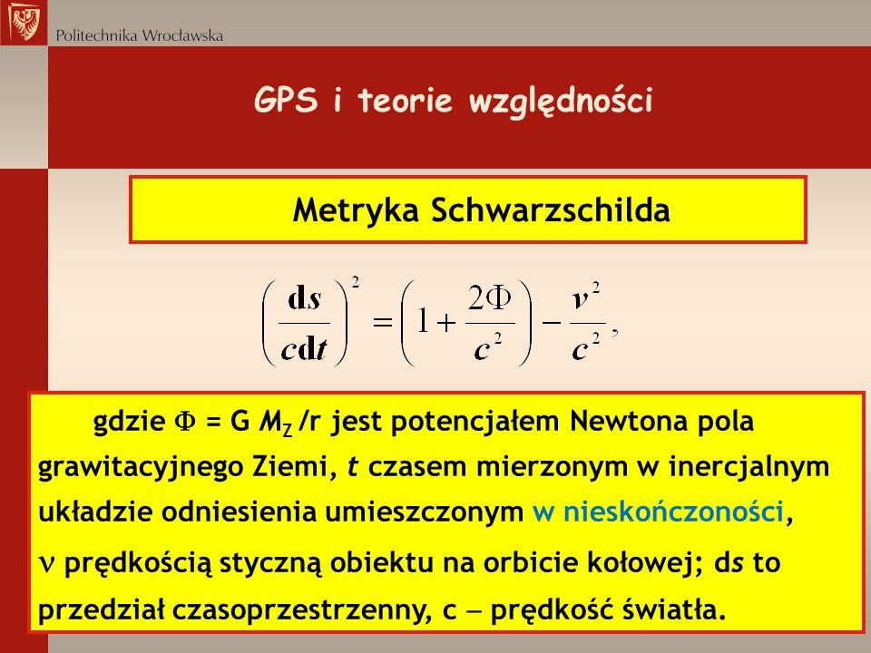 GPS i teorie względności Metryka Schwarzschilda gdzie = G M Z /r jest potencjałem Newtona pola grawitacyjnego Ziemi, t czasem mierzonym w inercjalnym