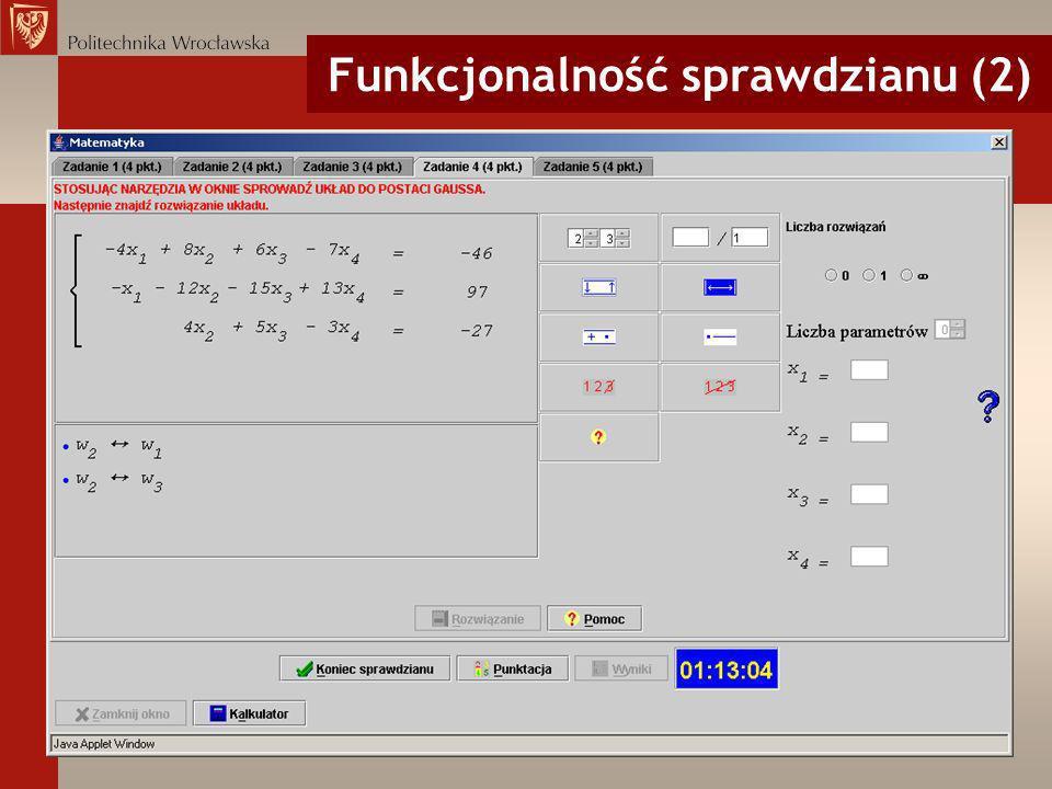 Funkcjonalność sprawdzianu (2)