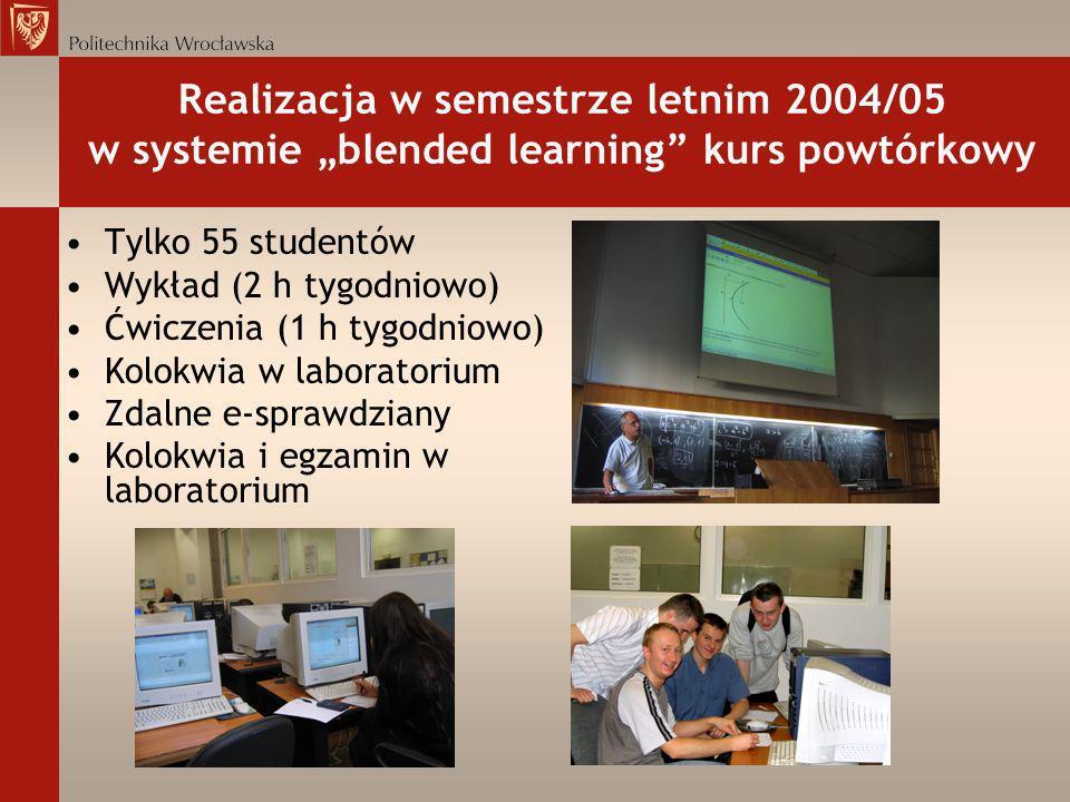 Realizacja w semestrze letnim 2004/05 w systemie blended learning kurs powtórkowy Tylko 55 studentów Wykład (2 h tygodniowo) Ćwiczenia (1 h tygodniowo