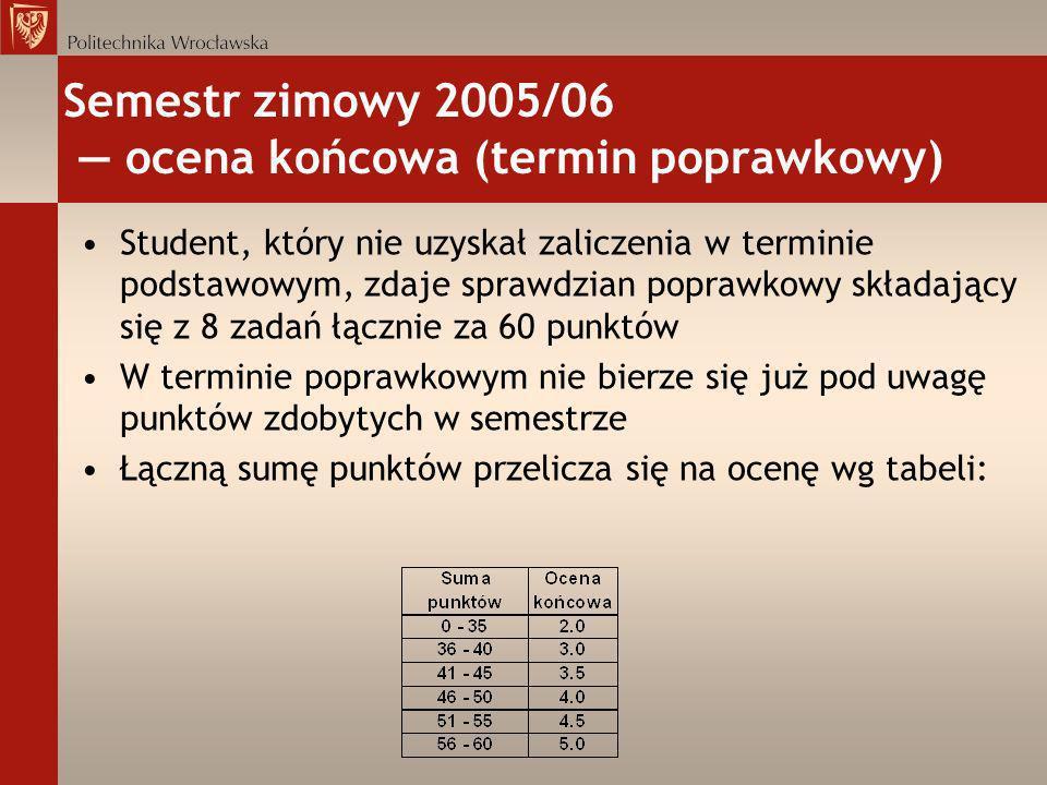 Semestr zimowy 2005/06 ocena końcowa (termin poprawkowy) Student, który nie uzyskał zaliczenia w terminie podstawowym, zdaje sprawdzian poprawkowy skł