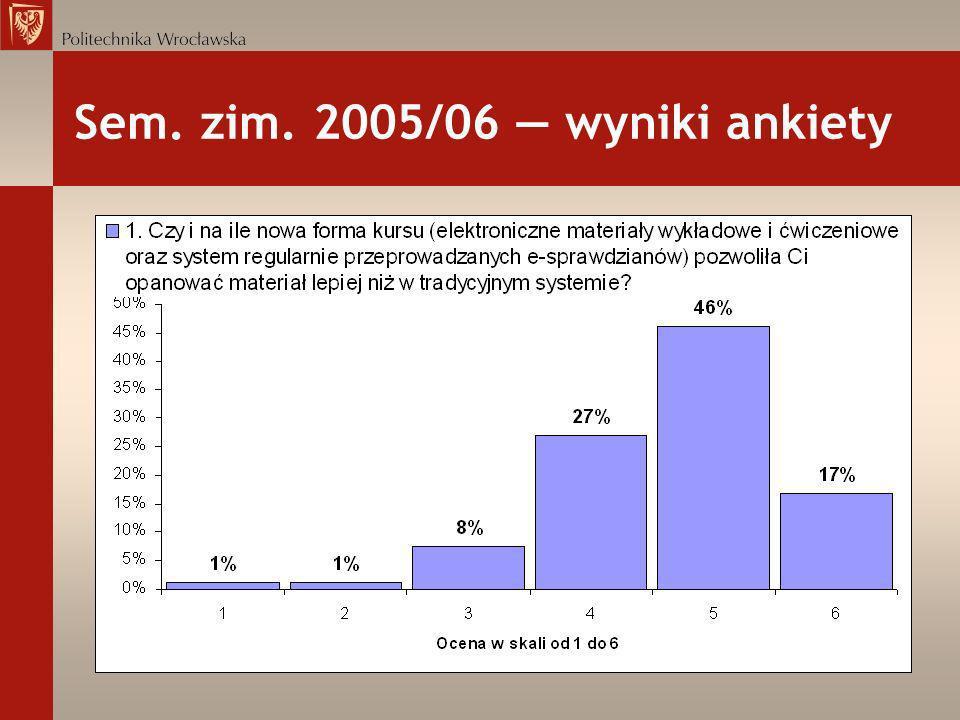 Sem. zim. 2005/06 wyniki ankiety