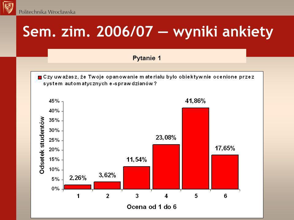 Sem. zim. 2006/07 wyniki ankiety Pytanie 1