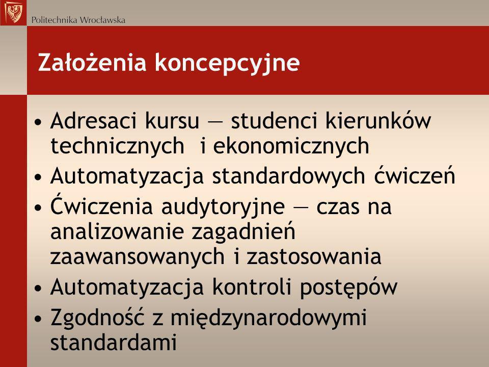Założenia koncepcyjne Adresaci kursu studenci kierunków technicznych i ekonomicznych Automatyzacja standardowych ćwiczeń Ćwiczenia audytoryjne czas na
