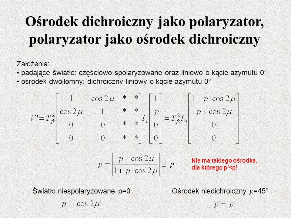 Ośrodek dichroiczny jako polaryzator, polaryzator jako ośrodek dichroiczny Założenia: padające światło: częściowo spolaryzowane oraz liniowo o kącie azymutu 0° ośrodek dwójłomny: dichroiczny liniowy o kącie azymutu 0° Światło niespolaryzowane p=0 Ośrodek niedichroiczny =45° Nie ma takiego ośrodka, dla którego p<p!