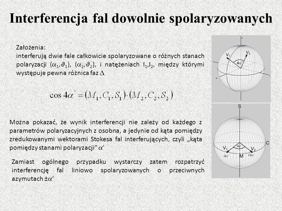 Interferencja fal dowolnie spolaryzowanych Założenia: interferują dwie fale całkowicie spolaryzowane o różnych stanach polaryzacji ( 1, 1 ), ( 2, 2 ),