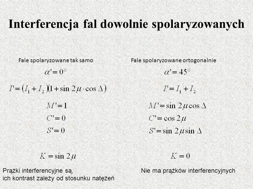 Interferencja fal dowolnie spolaryzowanych Fale spolaryzowane tak samoFale spolaryzowane ortogonalnie Prążki interferencyjne są, ich kontrast zależy od stosunku natężeń Nie ma prążków interferencyjnych