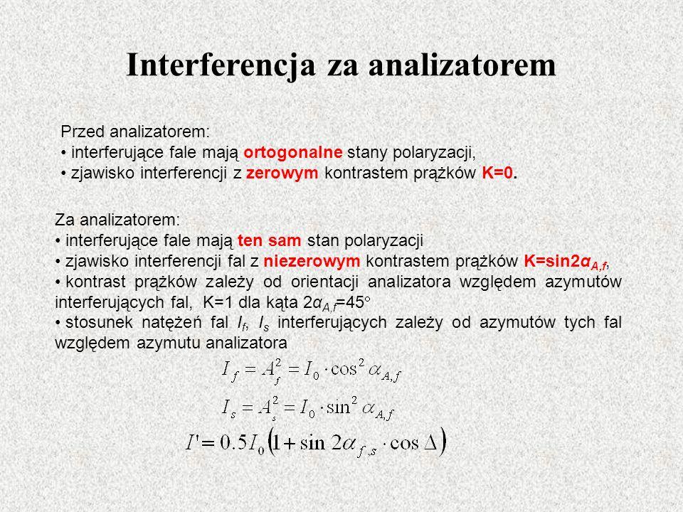 Interferencja za analizatorem Za analizatorem: interferujące fale mają ten sam stan polaryzacji zjawisko interferencji fal z niezerowym kontrastem prążków K=sin2α A,f, kontrast prążków zależy od orientacji analizatora względem azymutów interferujących fal, K=1 dla kąta 2α A,f =45 stosunek natężeń fal I f, I s interferujących zależy od azymutów tych fal względem azymutu analizatora Przed analizatorem: interferujące fale mają ortogonalne stany polaryzacji, zjawisko interferencji z zerowym kontrastem prążków K=0.