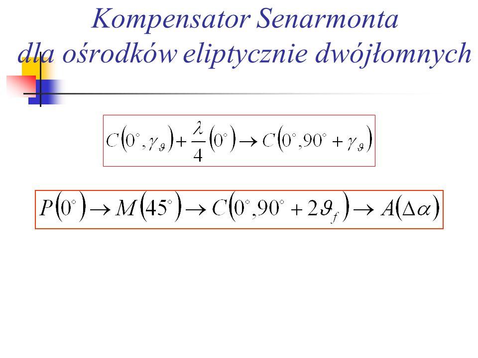 Kompensator Senarmonta dla ośrodków eliptycznie dwójłomnych