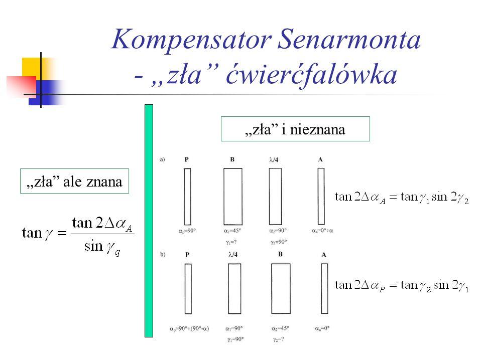 Kompensator Senarmonta dla ośrodków eliptycznie dwójłomnych P 90 º Ob 45 º A 0 º ÷α 1 γ p 90 º P 90 º Ob 45 º A 0 º ÷α 1