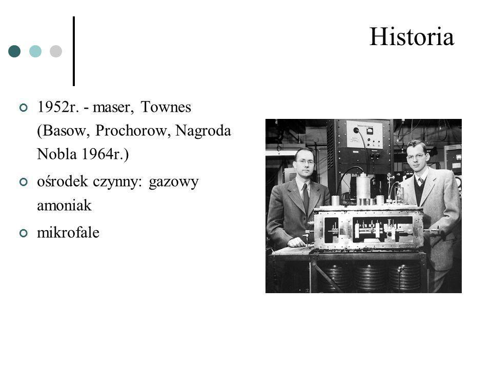 Historia 1952r. - maser, Townes (Basow, Prochorow, Nagroda Nobla 1964r.) ośrodek czynny: gazowy amoniak mikrofale