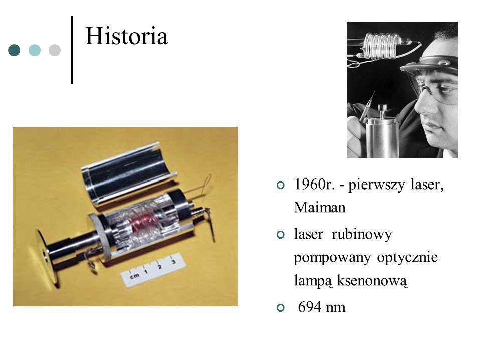 Historia 1960r. - pierwszy laser, Maiman laser rubinowy pompowany optycznie lampą ksenonową 694 nm