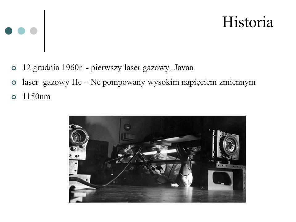 Historia 12 grudnia 1960r. - pierwszy laser gazowy, Javan laser gazowy He – Ne pompowany wysokim napięciem zmiennym 1150nm