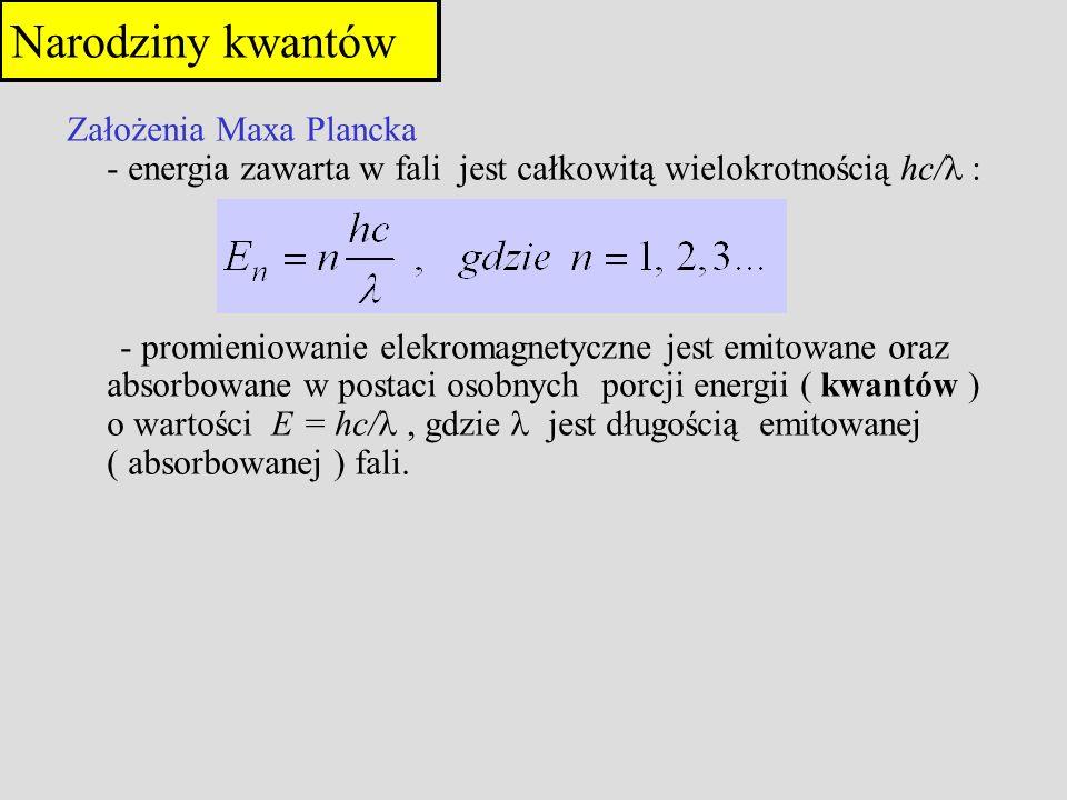 4321043210 4hf 3hf 2hf 1hf 0 energia n Konsekwencje założeń Plancka poziomy energetyczne molekuł muszą być dyskretne zmiana energii musi być wielokrotnością hf fala elektromagnetyczna jest skwantowana Narodziny kwantów