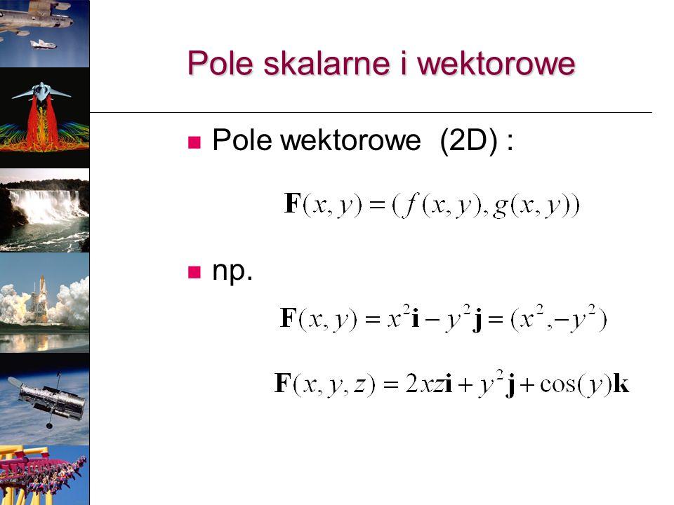 Pole skalarne i wektorowe Pole wektorowe (2D) : np.
