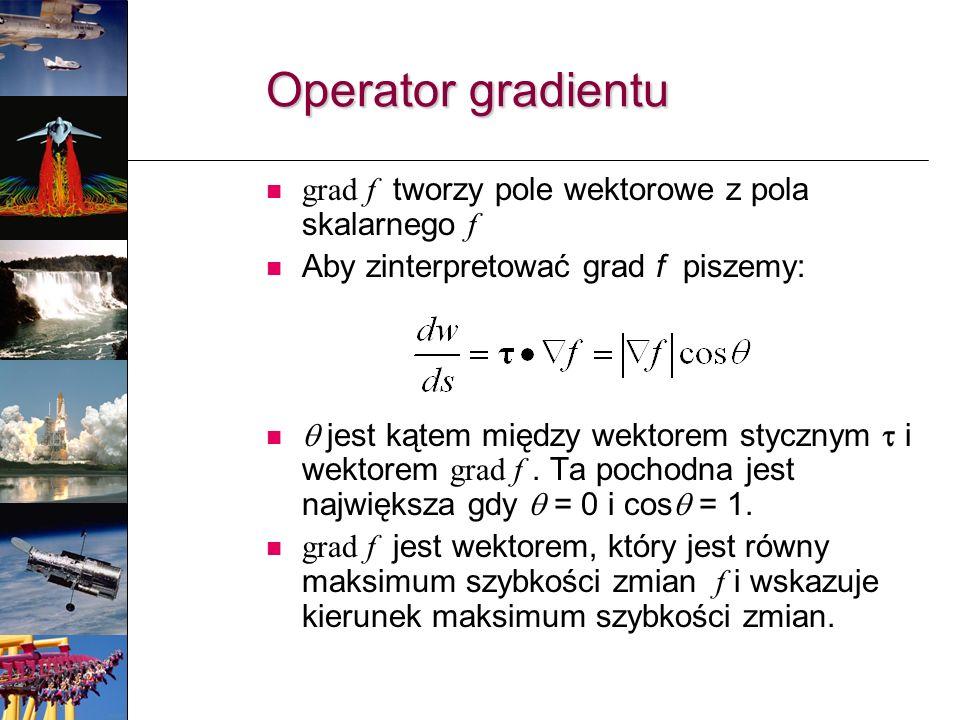 grad f tworzy pole wektorowe z pola skalarnego f Aby zinterpretować grad f piszemy: jest kątem między wektorem stycznym i wektorem grad f. Ta pochodna