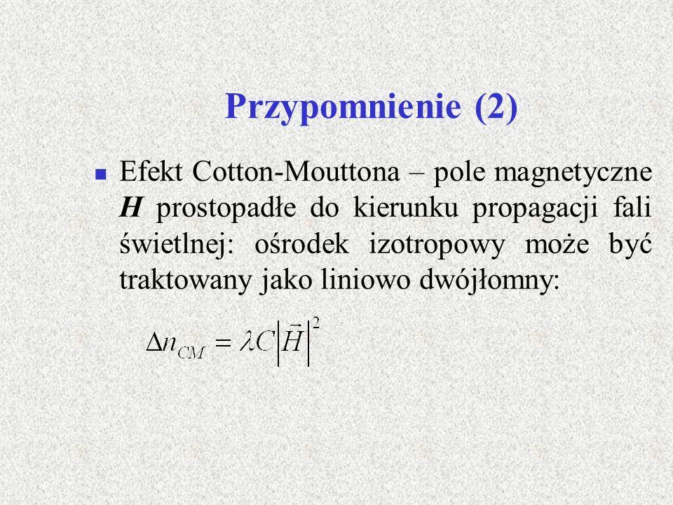 Założenia (1) Fala świetlna rozchodzi się pod kątem względem kierunku pola magnetycznego H Tensor dielektryczny ośrodka izotropowego umieszczonego w polu magnetycznym H zorientowanym wzdłuż osi z układu xyz