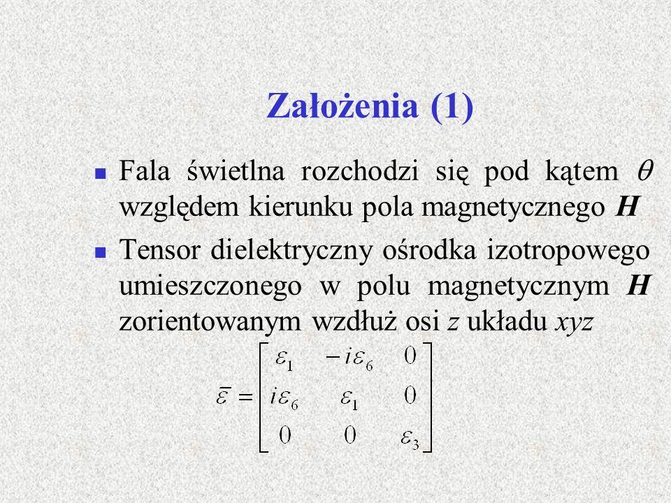 Założenia (2) Związki między składowymi tensora a polem magnetycznym H :