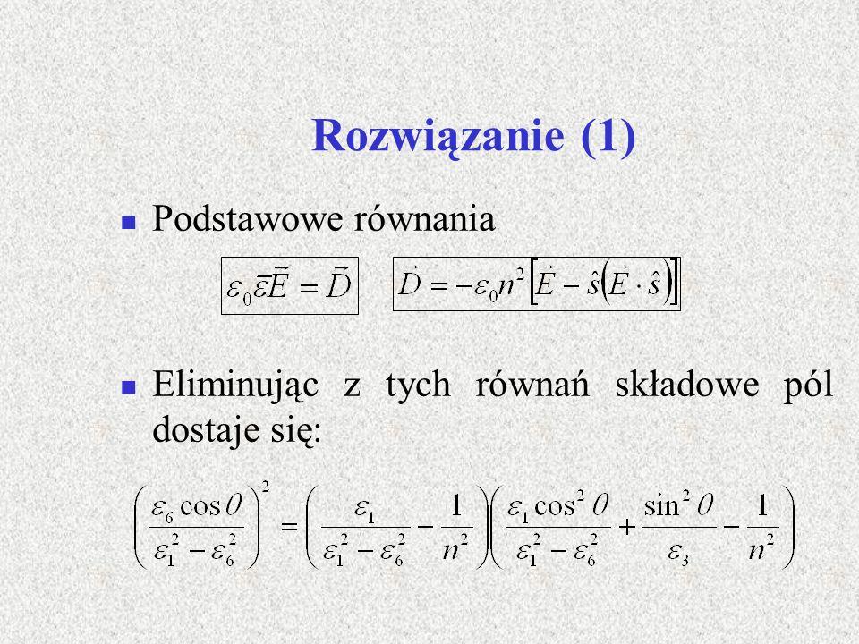 Rozwiązanie (1) Podstawowe równania Eliminując z tych równań składowe pól dostaje się: