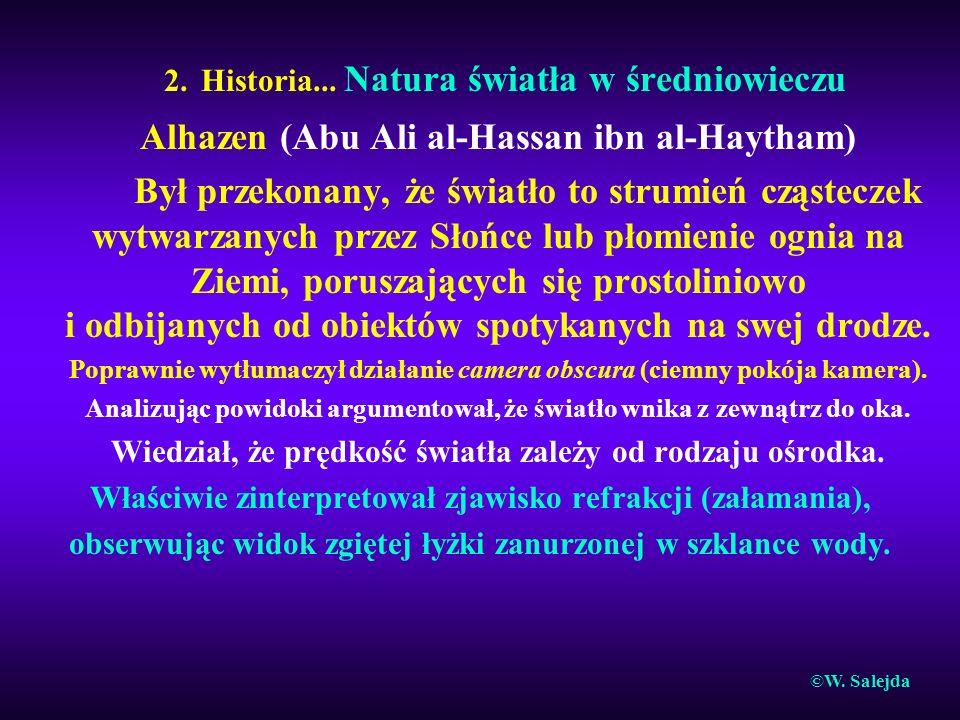 2. Historia... Natura światła w średniowieczu Alhazen (Abu Ali al-Hassan ibn al-Haytham) Był przekonany, że światło to strumień cząsteczek wytwarzanyc