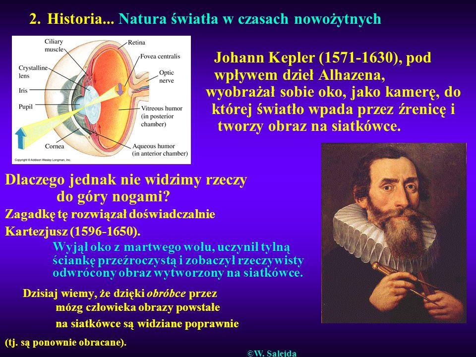 2. Historia... Natura światła w czasach nowożytnych Johann Kepler (1571-1630), pod wpływem dzieł Alhazena, wyobrażał sobie oko, jako kamerę, do której