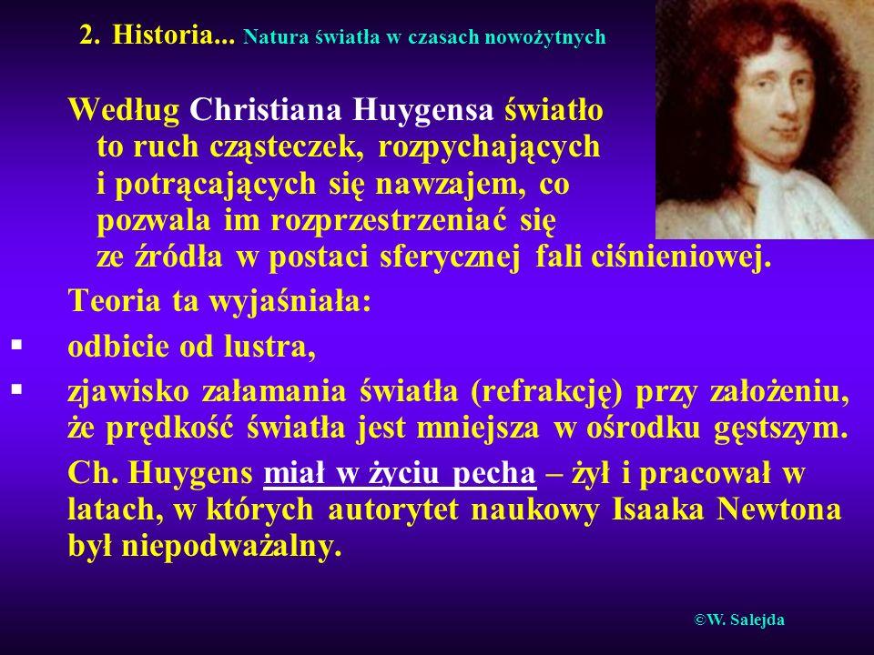 2. Historia... Natura światła w czasach nowożytnych Według Christiana Huygensa światło to ruch cząsteczek, rozpychających i potrącających się nawzajem
