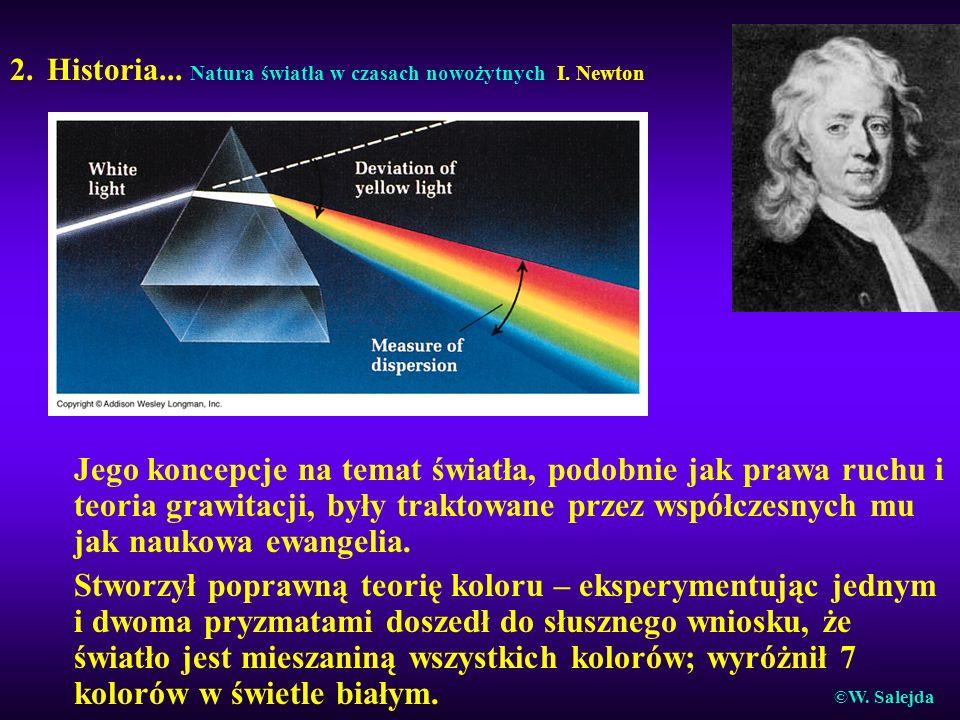 2. Historia... Natura światła w czasach nowożytnych I. Newton Jego koncepcje na temat światła, podobnie jak prawa ruchu i teoria grawitacji, były trak
