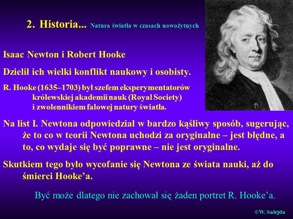 2. Historia... Natura światła w czasach nowożytnych Isaac Newton i Robert Hooke Dzielił ich wielki konflikt naukowy i osobisty. R. Hooke (1635–1703) b