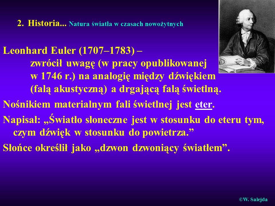 2. Historia... Natura światła w czasach nowożytnych Leonhard Euler (1707–1783) – zwrócił uwagę (w pracy opublikowanej w 1746 r.) na analogię między dź