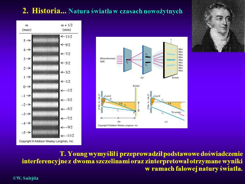 2. Historia... Natura światła w czasach nowożytnych T. Young wymyślił i przeprowadził podstawowe doświadczenie interferencyjne z dwoma szczelinami ora