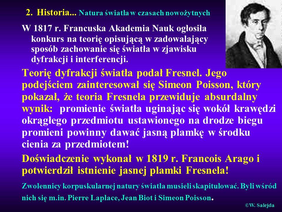 2. Historia... Natura światła w czasach nowożytnych W 1817 r. Francuska Akademia Nauk ogłosiła konkurs na teorię opisującą w zadowalający sposób zacho