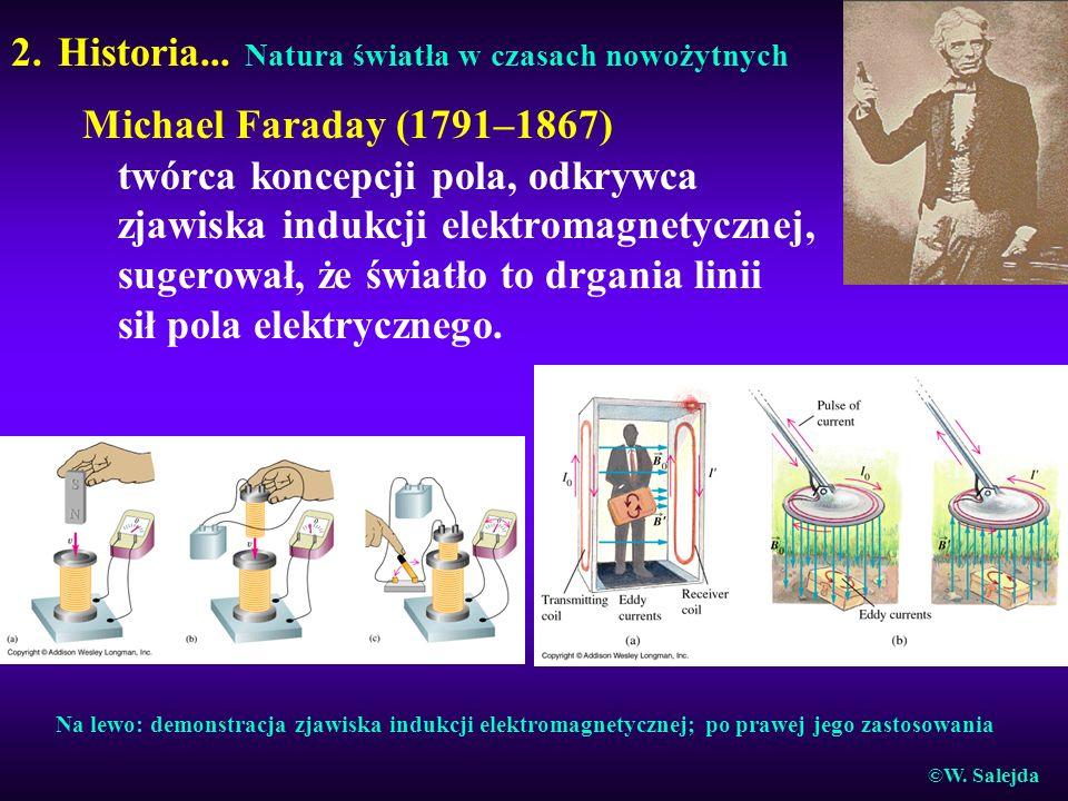 2. Historia... Natura światła w czasach nowożytnych Michael Faraday (1791–1867) twórca koncepcji pola, odkrywca zjawiska indukcji elektromagnetycznej,