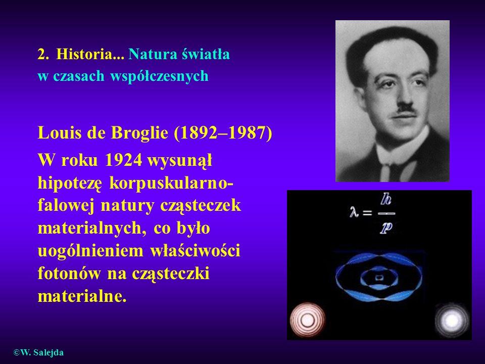 2. Historia... Natura światła w czasach współczesnych Louis de Broglie (1892–1987) W roku 1924 wysunął hipotezę korpuskularno- falowej natury cząstecz