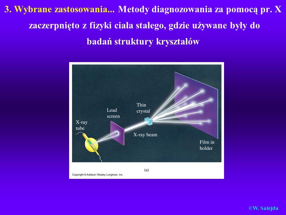 3. Wybrane zastosowania... Metody diagnozowania za pomocą pr. X zaczerpnięto z fizyki ciała stałego, gdzie używane były do badań struktury kryształów