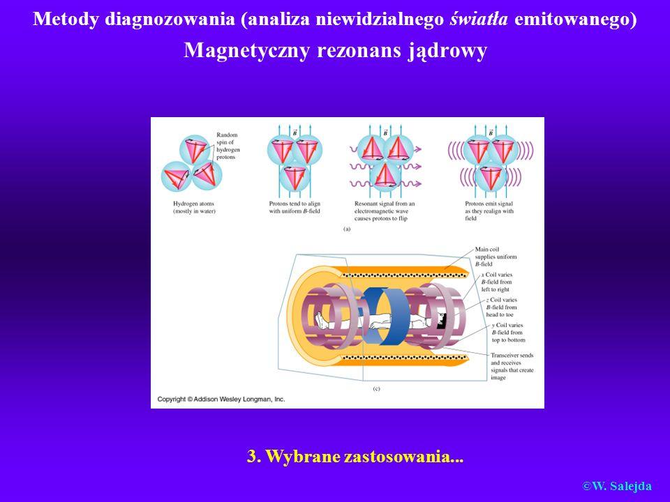Metody diagnozowania (analiza niewidzialnego światła emitowanego) Magnetyczny rezonans jądrowy 3. Wybrane zastosowania... ©W. Salejda