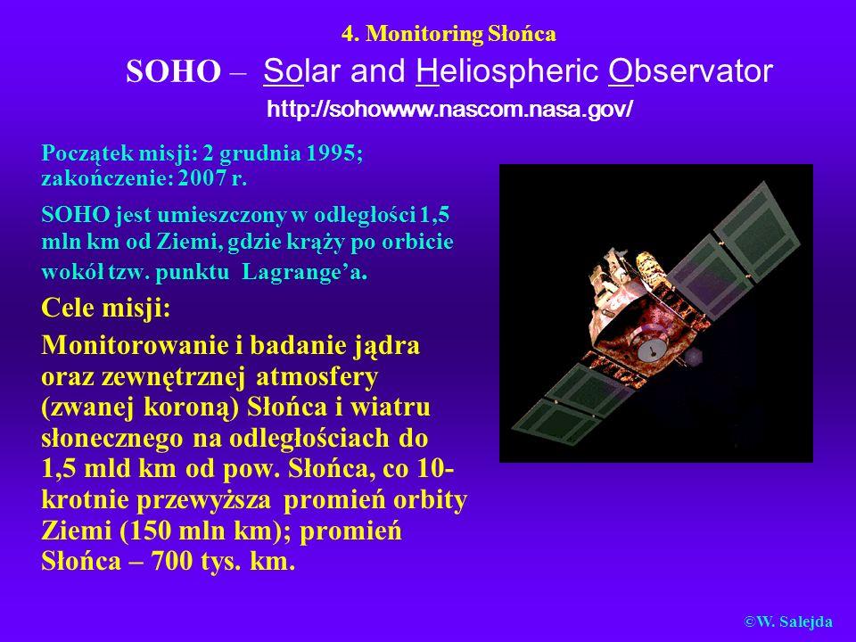 4. Monitoring Słońca SOHO – Solar and Heliospheric Observator http://sohowww.nascom.nasa.gov/ Początek misji: 2 grudnia 1995; zakończenie: 2007 r. SOH