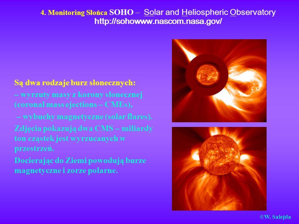 4. Monitoring Słońca SOHO – Solar and Heliospheric Observatory http://sohowww.nascom.nasa.gov/ Są dwa rodzaje burz słonecznych: – wyrzuty masy z koron