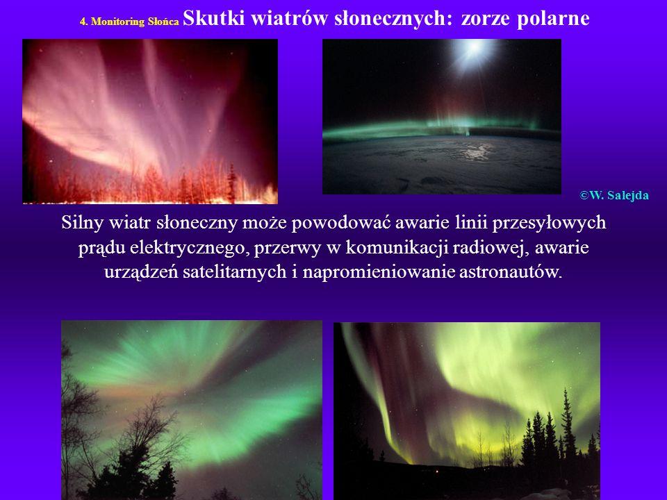 4. Monitoring Słońca Skutki wiatrów słonecznych: zorze polarne Silny wiatr słoneczny może powodować awarie linii przesyłowych prądu elektrycznego, prz
