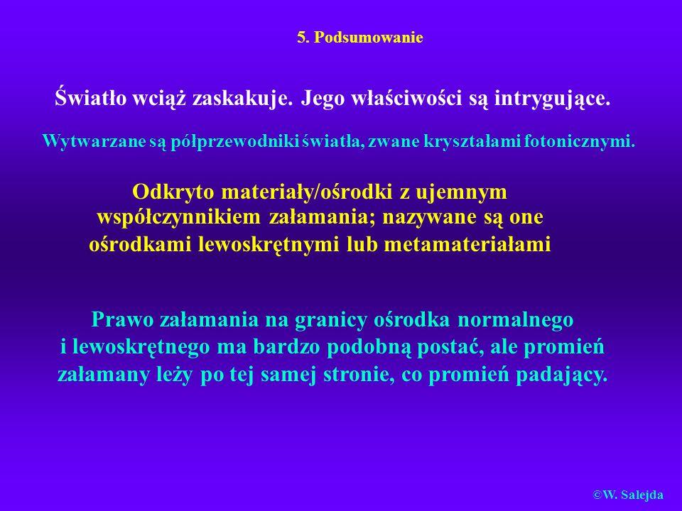 5. Podsumowanie Odkryto materiały/ośrodki z ujemnym współczynnikiem załamania; nazywane są one ośrodkami lewoskrętnymi lub metamateriałami Prawo załam