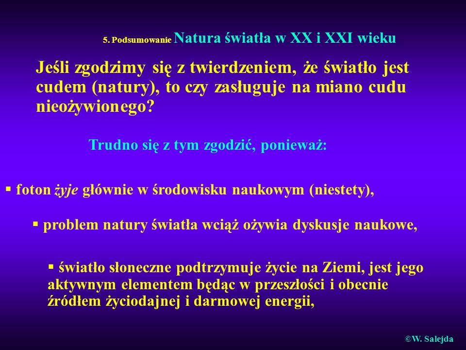 5. Podsumowanie Natura światła w XX i XXI wieku Jeśli zgodzimy się z twierdzeniem, że światło jest cudem (natury), to czy zasługuje na miano cudu nieo