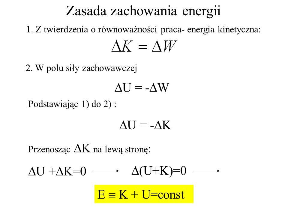 Zasada zachowania energii 1. Z twierdzenia o równoważności praca- energia kinetyczna: 2. W polu siły zachowawczej U = - W Podstawiając 1) do 2) : U =
