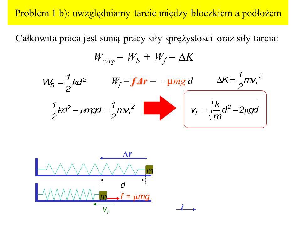 Problem 1 b): uwzględniamy tarcie między bloczkiem a podłożem Całkowita praca jest sumą pracy siły sprężystości oraz siły tarcia: d vrvr m m i f = mg