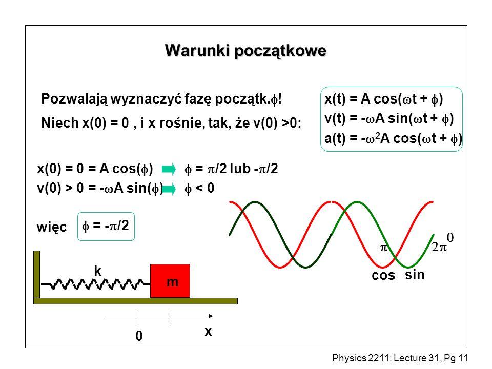 Physics 2211: Lecture 31, Pg 11 Warunki początkowe k x m 0 Pozwalają wyznaczyć fazę początk. ! Niech x(0) = 0, i x rośnie, tak, że v(0) >0: x(0) = 0 =