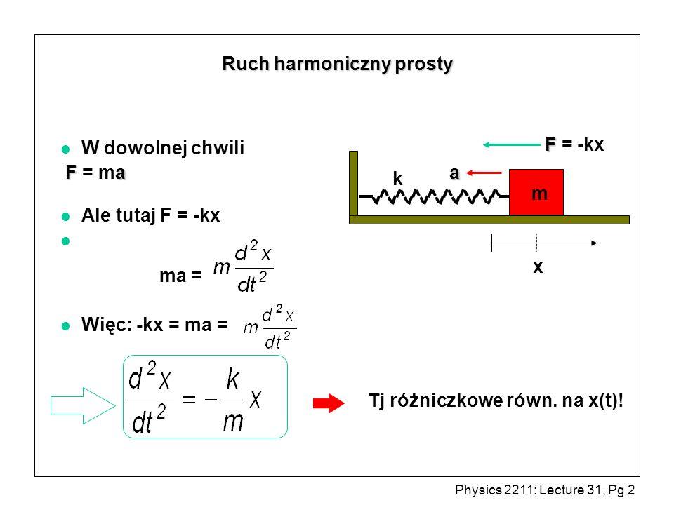 Physics 2211: Lecture 31, Pg 2 l W dowolnej chwili Fa F = ma l Ale tutaj F = -kx l ma = l Więc: -kx = ma = k x m F F = -kx a Tj różniczkowe równ. na x