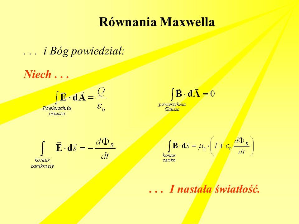 Równania Maxwella... i Bóg powiedział: Niech...... I nastała światłość.