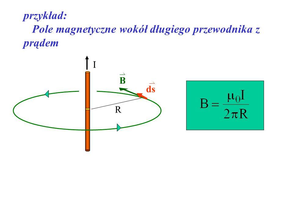 + przykład: Pole magnetyczne wokół długiego przewodnika z prądem v BF I ds R