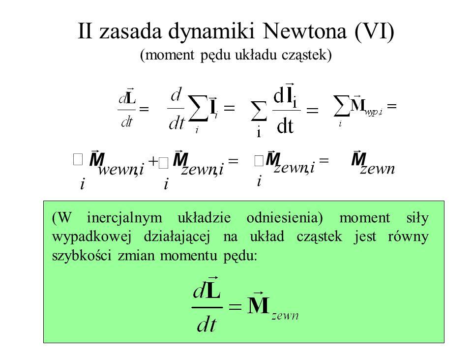 II zasada dynamiki Newtona (VI) (moment pędu układu cząstek) (W inercjalnym układzie odniesienia) moment siły wypadkowej działającej na układ cząstek