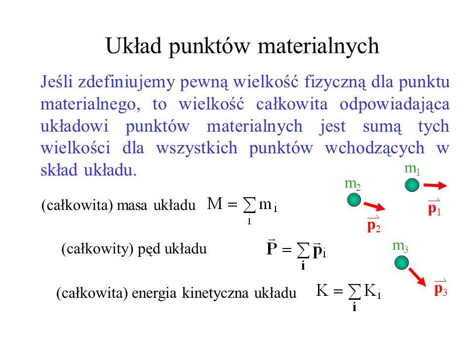 Środek masy x y z mimi Dla układu dyskretnego j est to punkt dla którego wektor położenia jest zdefiniowany następująco: gdzie M jest całkowitą masą.