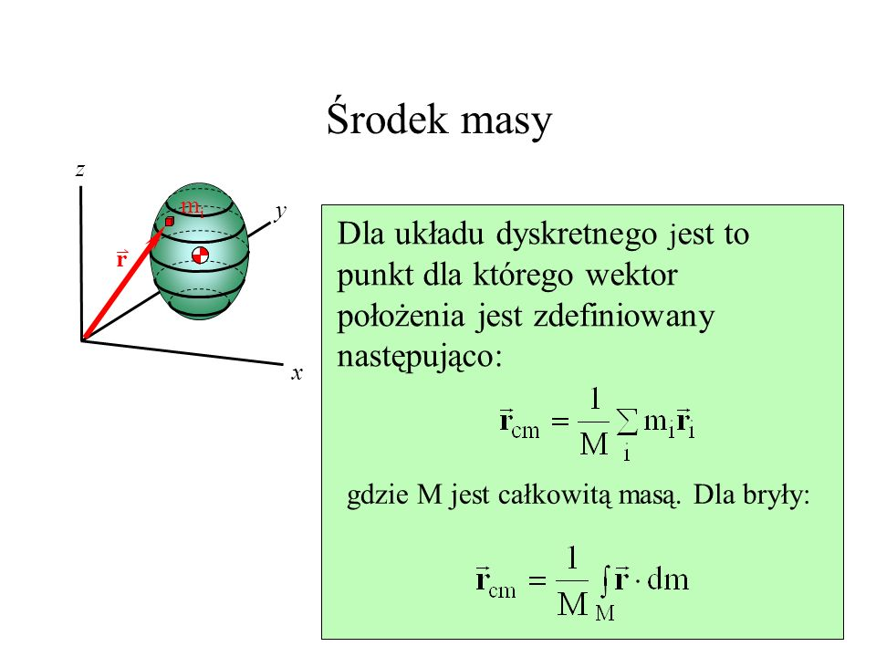 Astronauci i lina l Oznaczmy prędkość środka masy V CM l V CM = 0.