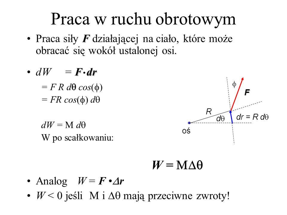 Praca w ruchu obrotowym FPraca siły F działającej na ciało, które może obracać się wokół ustalonej osi. FdrdW = F. dr = F R d cos( ) = FR cos( ) d dW