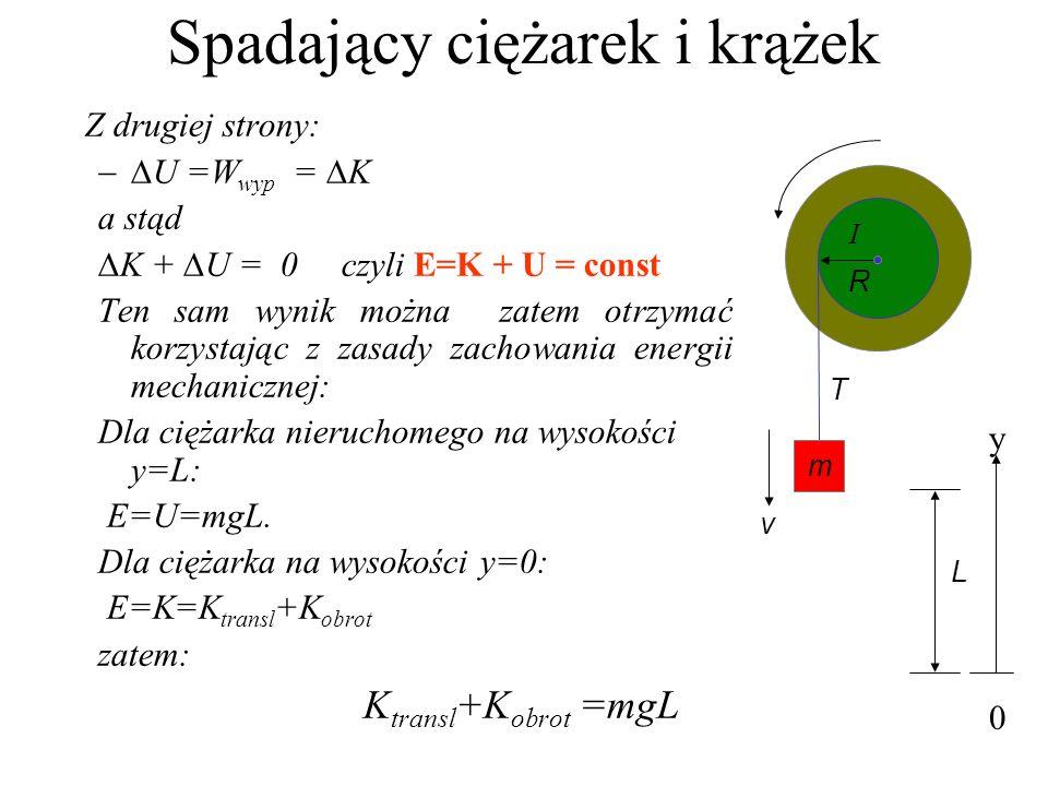 Spadający ciężarek i krążek Z drugiej strony: U =W wyp = K a stąd K + U = 0 czyli E=K + U = const Ten sam wynik można zatem otrzymać korzystając z zas